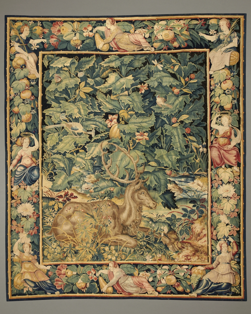 Feuilles de Choux with Stag, Flemish, probably Enghien, c. 1550 – 1570