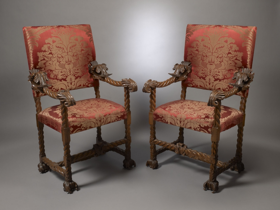 Two Pairs of Baroque Carved Armchairs, Italy, Venice, c. 1680
