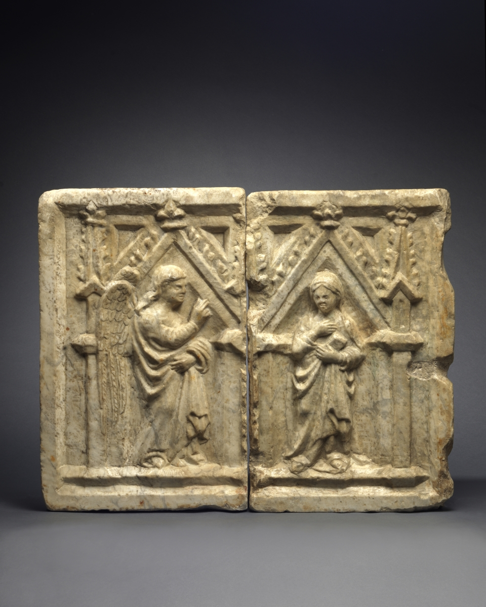 A Pair of Reliefs with the Angel Gabriel and Virgin of the Annunciation, Pisan Master, employee of L