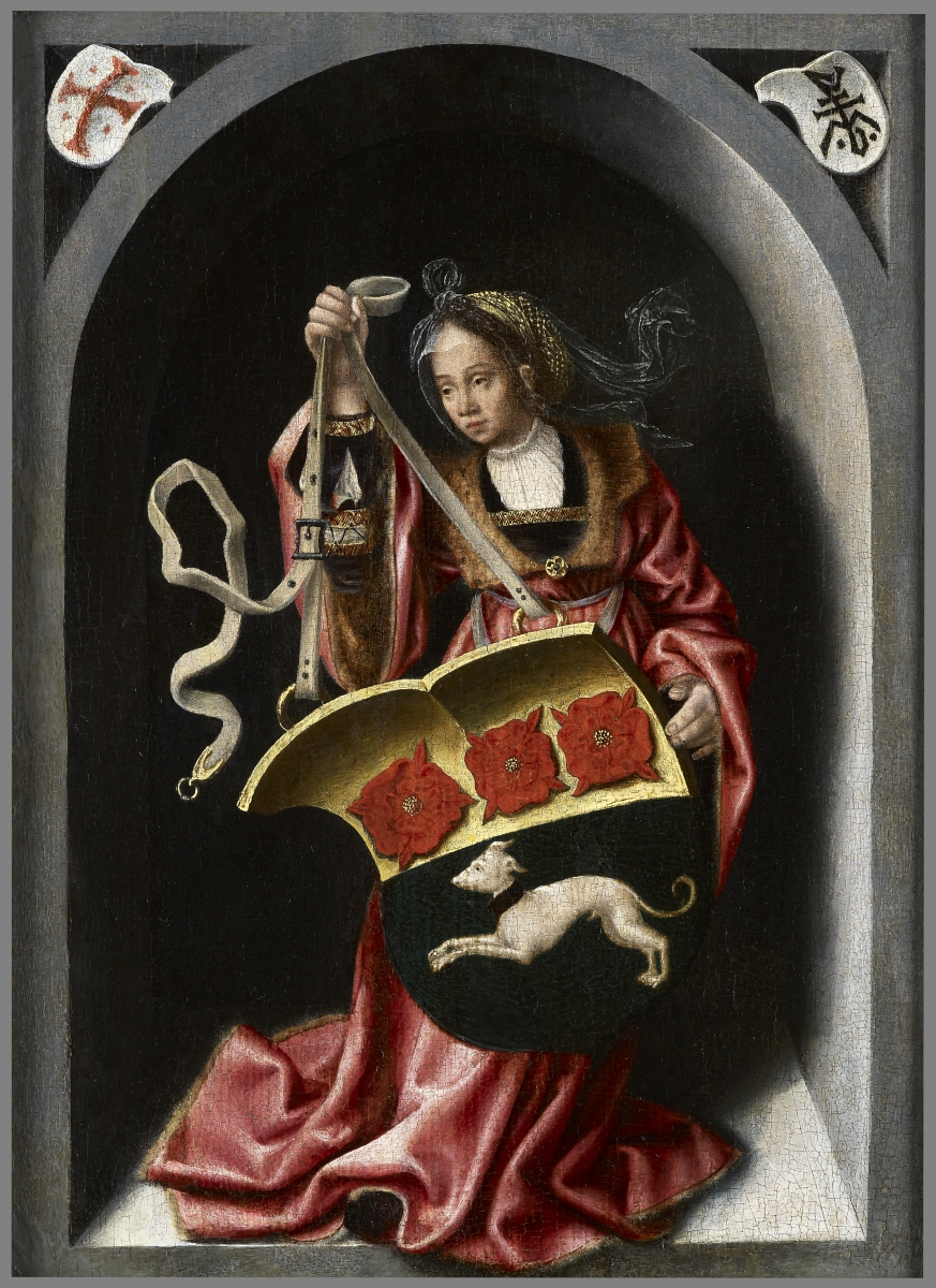 A Lady Holding a Heraldic Shield within a Painted Niche , Bernaert van Orley and Workshop(1488 &ndas